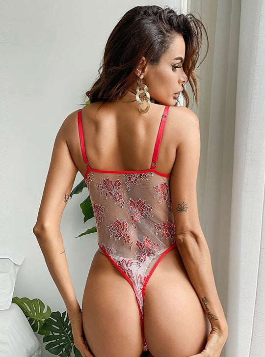 Red Flower Embroidered Bodysuit