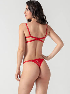 Red Lace Strappy Push Up Bra Set - Evalamor