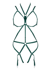 Load image into Gallery viewer, Green Hollow Bondage Bodysuit