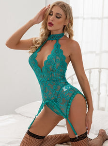 Blue Hanging Neck Bodysuit