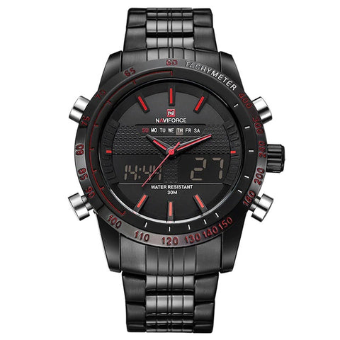 Relógio NAVIFORCE Men Watches Full Steel Dual Analógico e Digital
