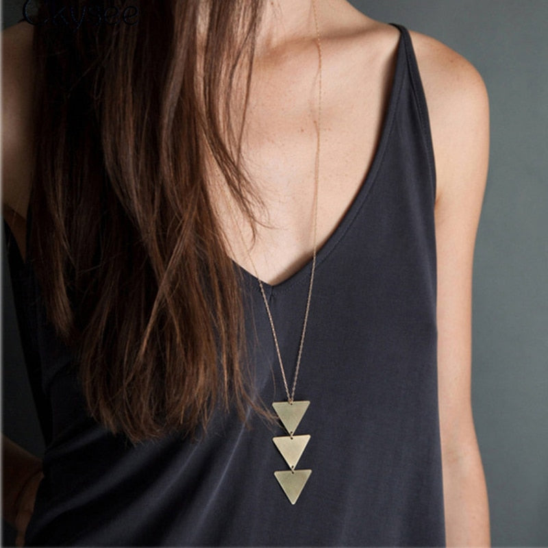 Cordão Feminino NEW Pendant Necklace Triangle Long