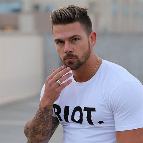 Camisa Masculina T Shirt Cotton RIOT Fitness Slim