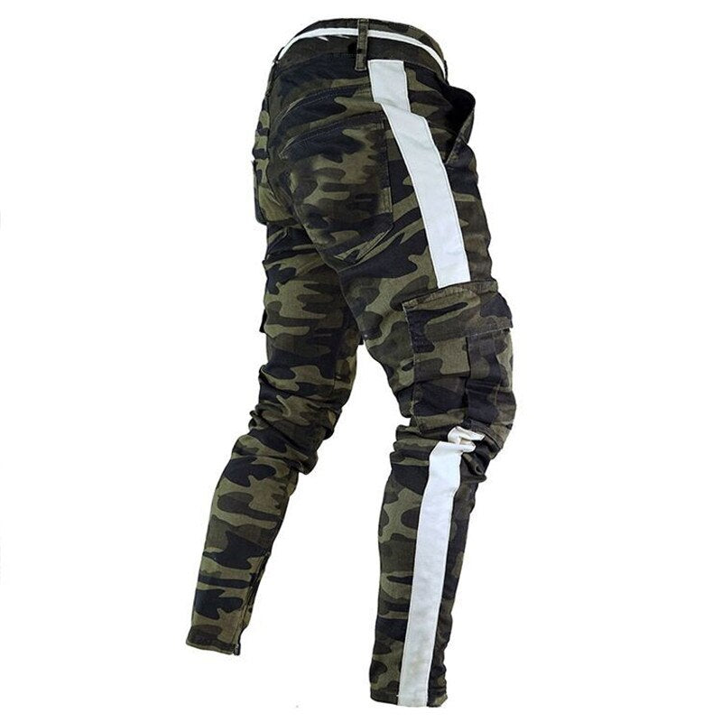 Calça masculina Jeans  Pants Army Green Camouflage Slim Long