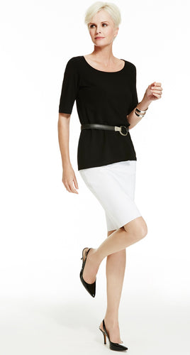 Slim Fit Stretch Pencil Skirt - Short