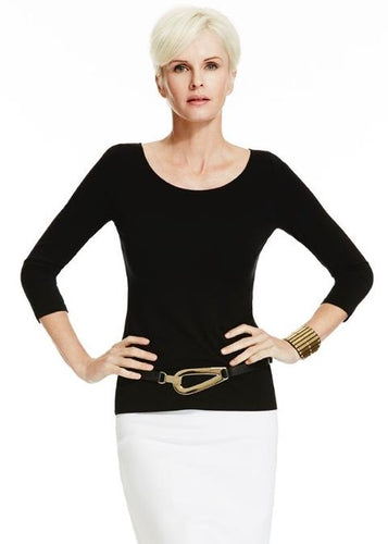 Loose Fit Half Sleeve Scoop Neck Top