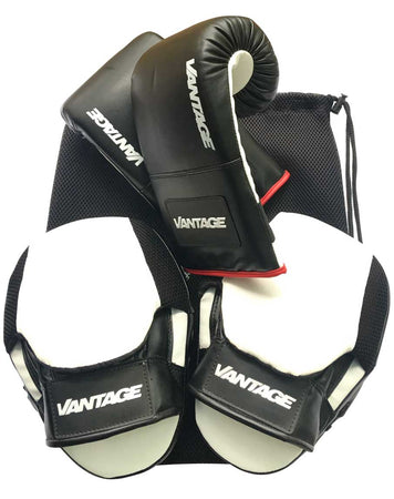 Boxing Gloves and Focus Pad Training Kit by Vantage Strength