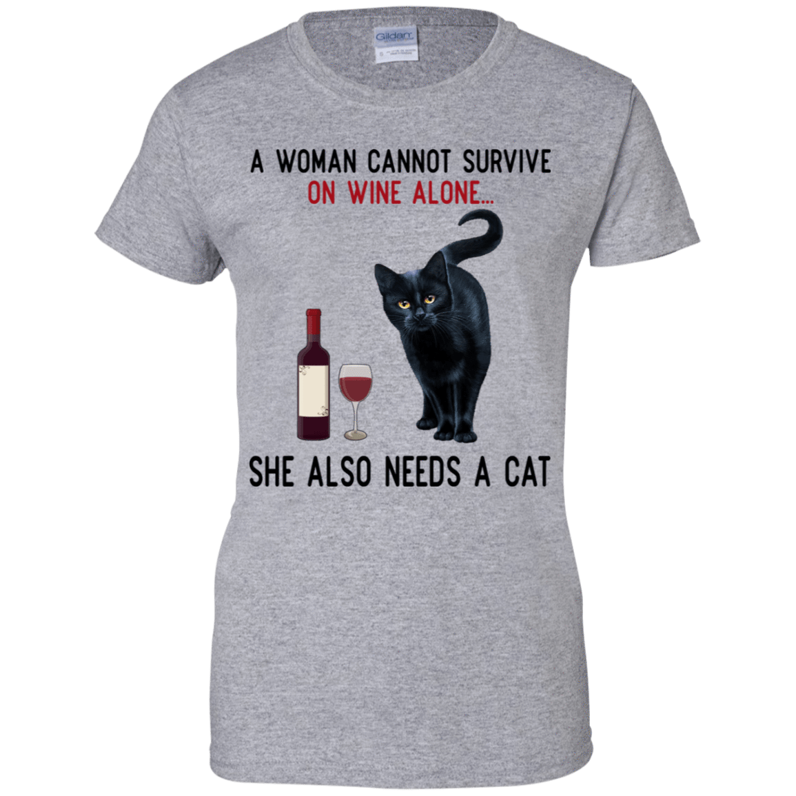 A Woman Cannot Survive On Wine Alone She Also Need A Cat T-Shirts, Hoodies 939-9265-77528899-44821 - Tee Ript