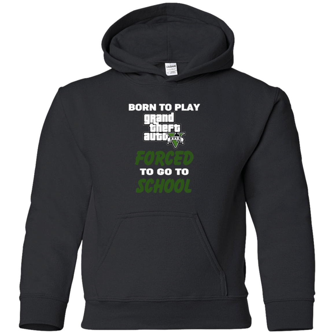 Born To Play Grand Theft Auto Forced To Go To School 59-333-74209588-1281 - Tee Ript