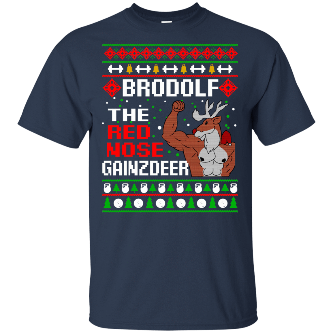 Brodolf The Red Nose Gainzdeer Christmas Sweater, T-Shirts & Hoodies 22-111-73888882-250 - Tee Ript