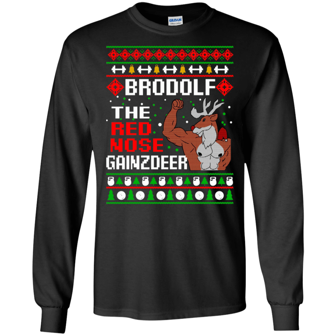 Brodolf The Red Nose Gainzdeer Christmas Sweater, T-Shirts & Hoodies 30-186-73888883-333 - Tee Ript