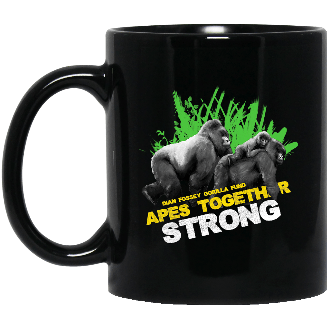Gorilla Dian Fossey Gorilla Fund Apes Together Strong Black Mug 1065-10181-93051330-49307 - Tee Ript