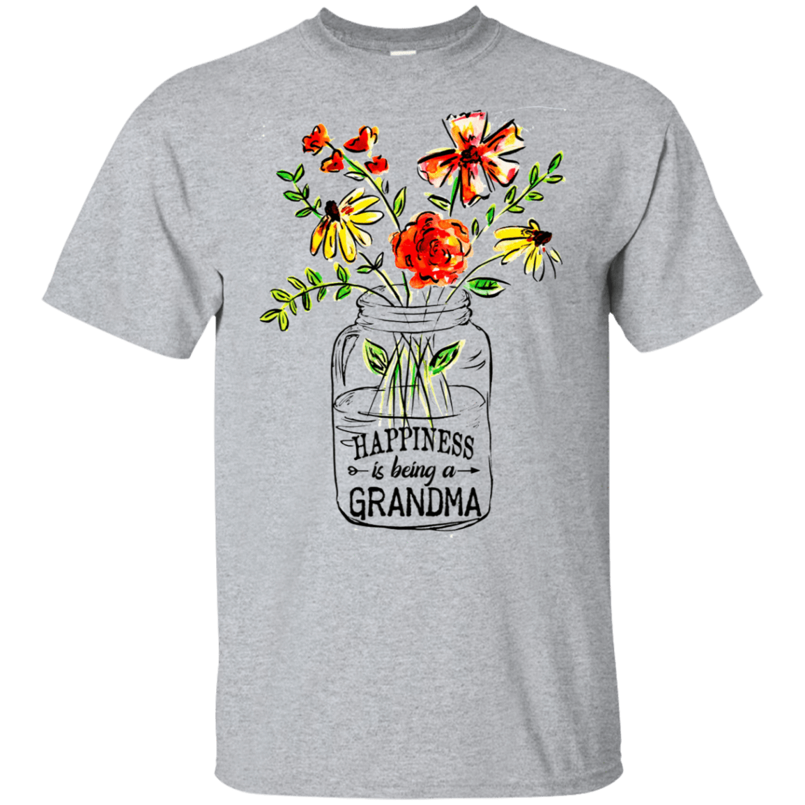 Happiness Is Being A Grandma Flower 22-115-74332699-254 - Tee Ript