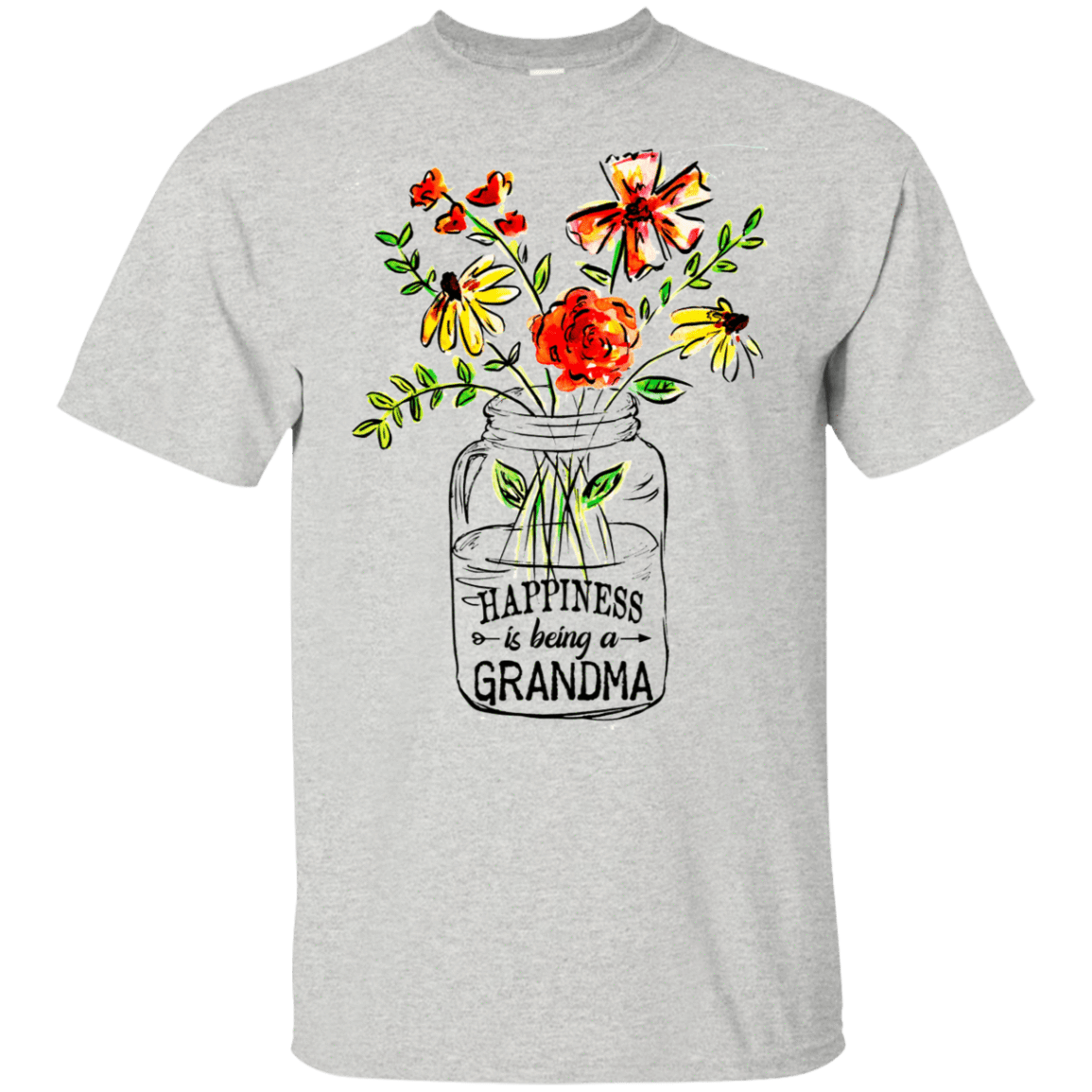 Happiness Is Being A Grandma Flower 22-2475-74332699-12568 - Tee Ript