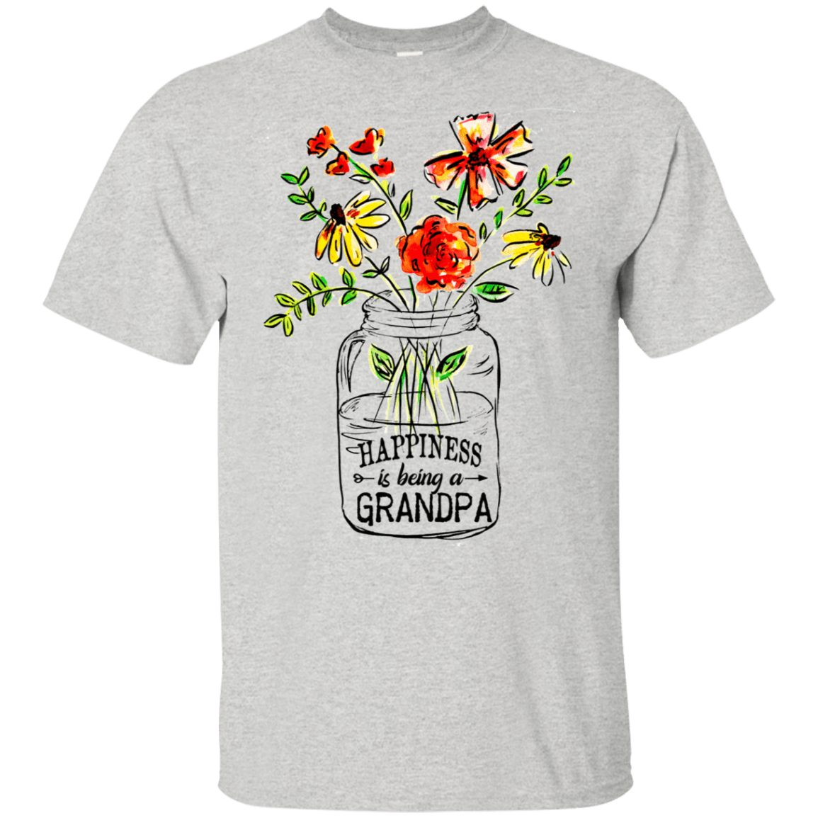 Happiness Is Being A Grandpa Flower 22-2475-74371518-12568 - Tee Ript