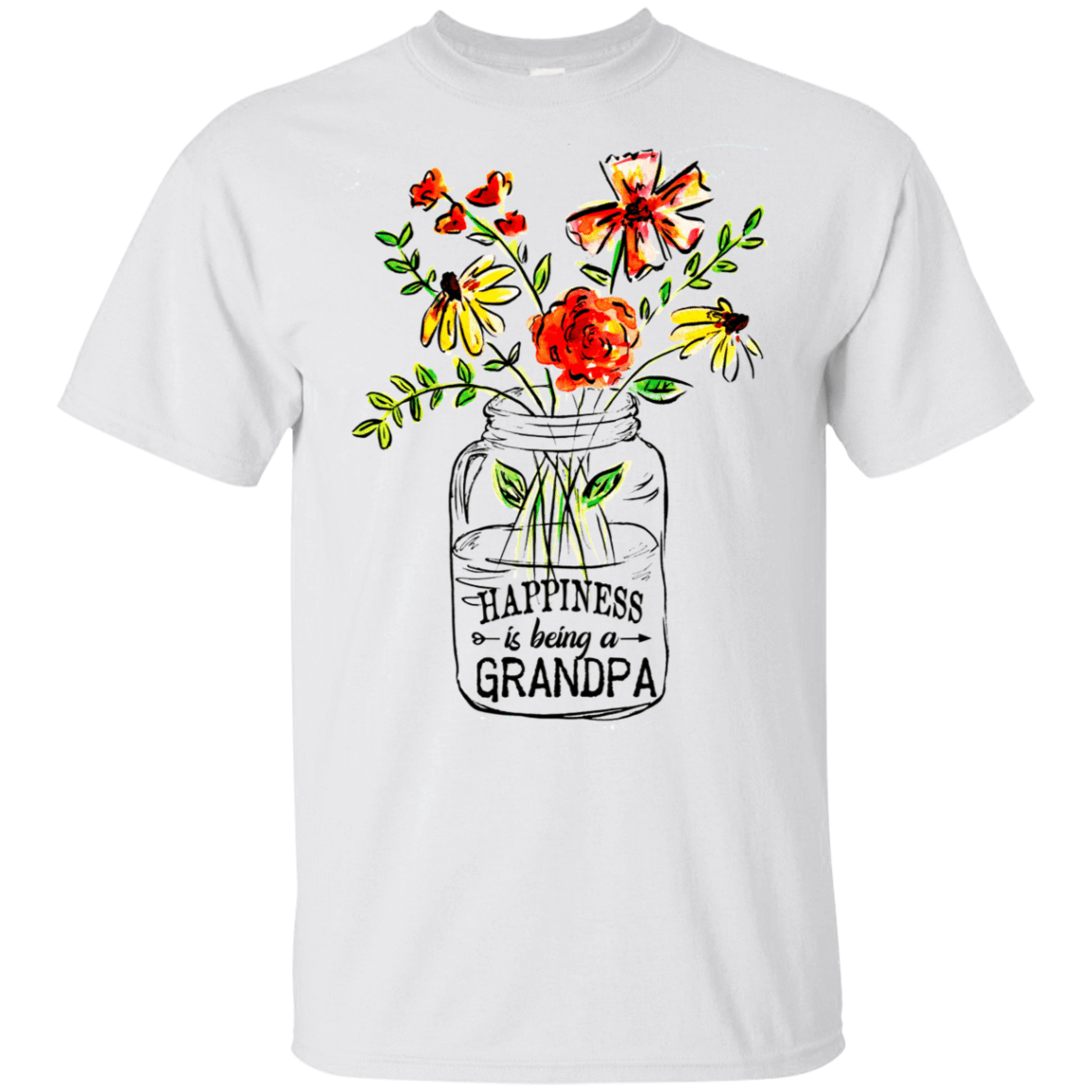 Happiness Is Being A Grandpa Flower 22-114-74371518-253 - Tee Ript