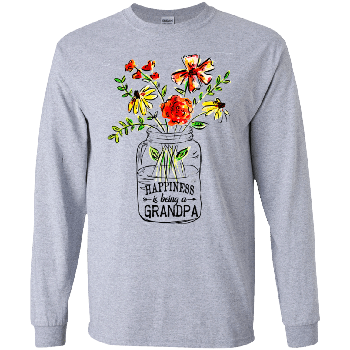 Happiness Is Being A Grandpa Flower 30-188-74371519-335 - Tee Ript