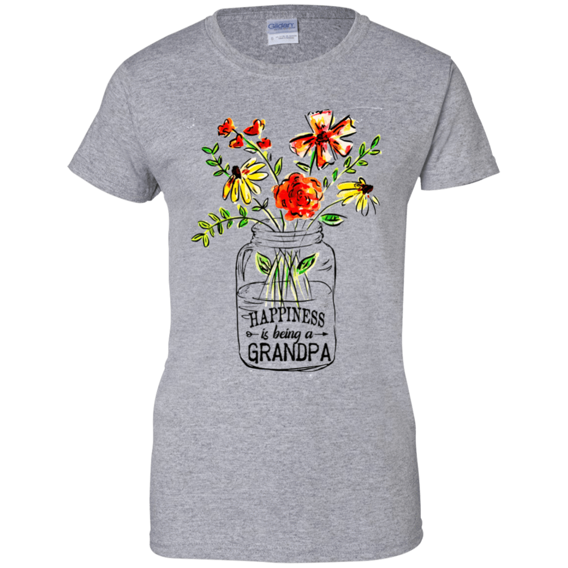 Happiness Is Being A Grandpa Flower 939-9265-74371521-44821 - Tee Ript