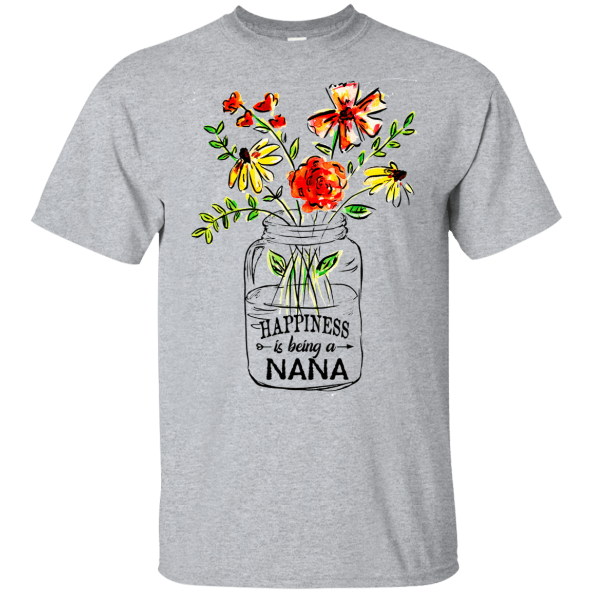 Happiness Is Being A Nana Flower 22-115-74334444-254 - Tee Ript