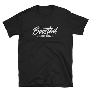 New Era Boosted White on Black/Navy Short-Sleeve Unisex T-Shirt