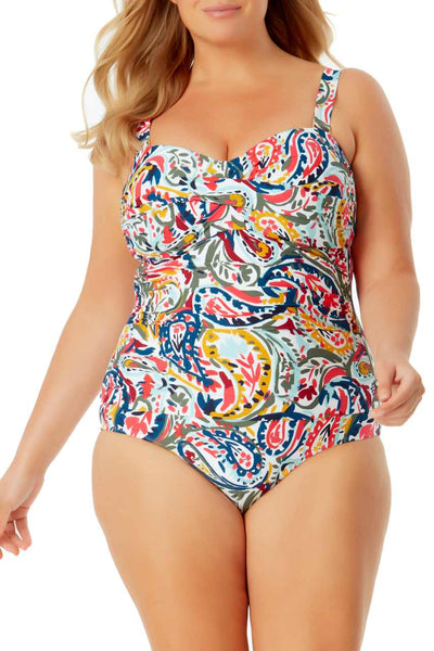 Twist Front Shirred One Piece Swimsuit