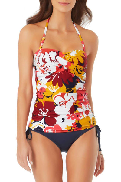Compare one swim top design in floral print and plain black to see the visual effect