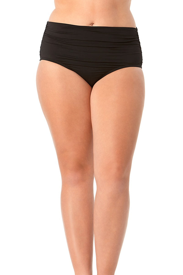 Anne Cole Plus - Live In Color High To Low Convertible Waist Shirred Swim Bottom Black 1