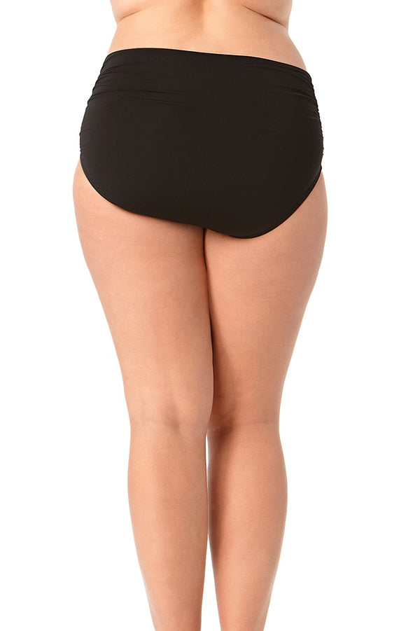 Anne Cole Plus - Live In Color High To Low Convertible Waist Shirred Swim Bottom Black 2