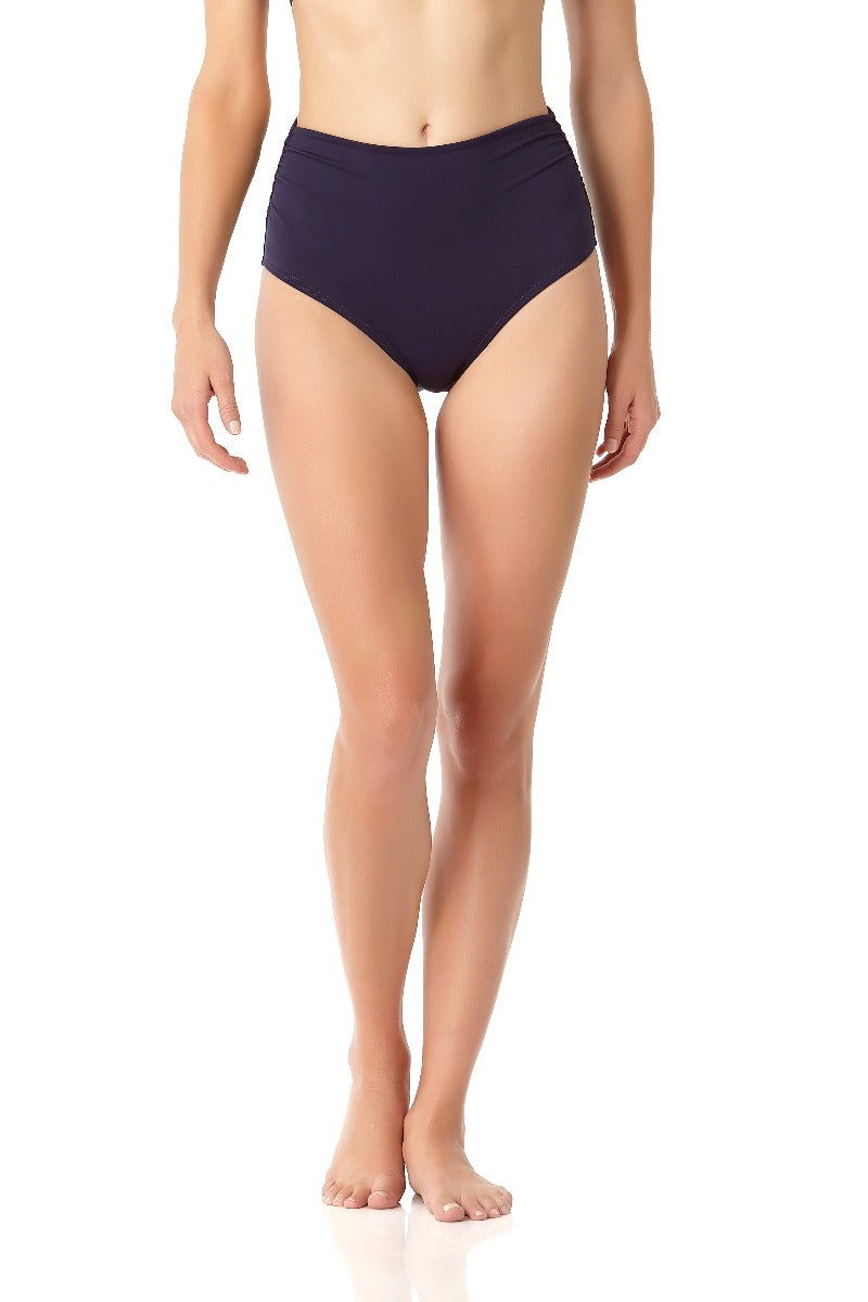 Anne Cole - Live In Color High To Low Convertible Waist Shirred Swim Bottom Navy 1