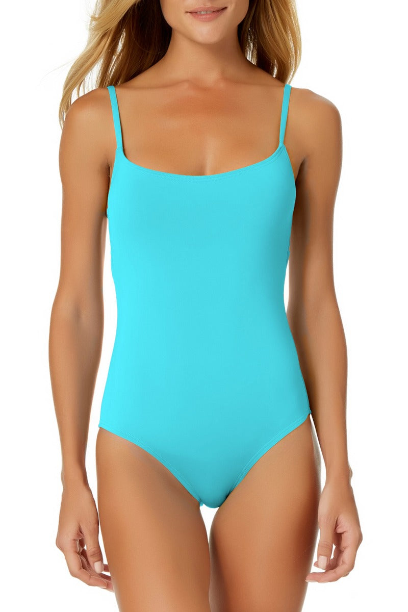 Anne Cole - Classic Moderate Leg Maillot One Piece Aqua Swimsuit Light Blue 1