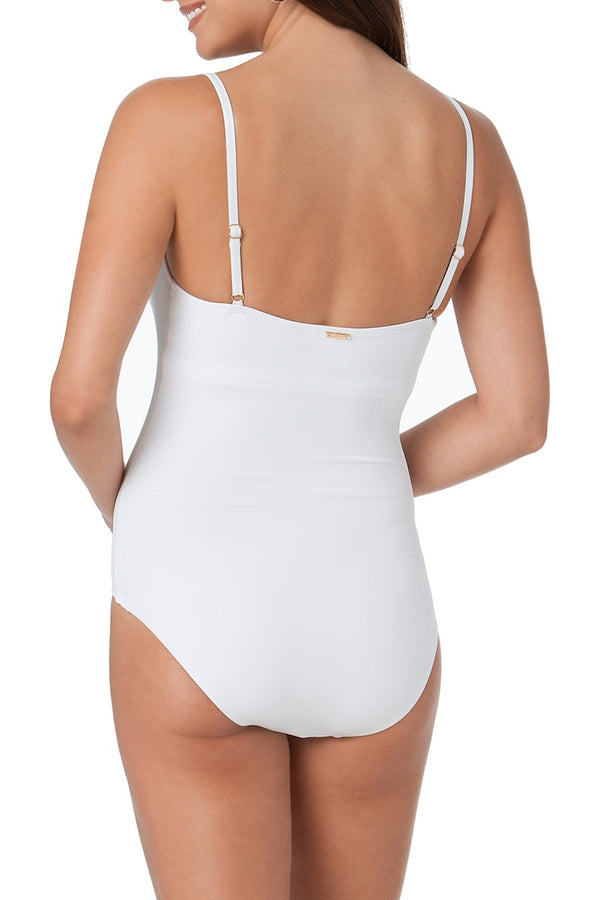 Anne Cole - Classic Moderate Leg Maillot One Piece Swimsuit White 2