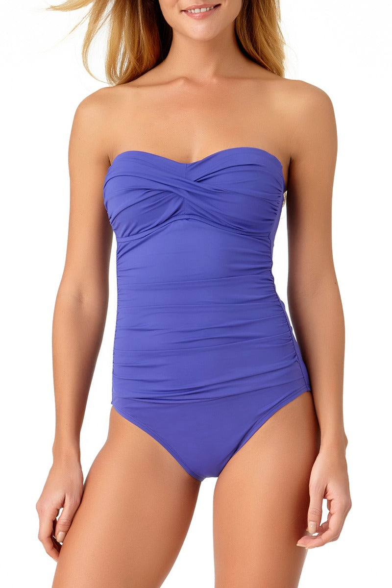 Anne Cole - Shirred Bandeau One Piece Swimsuit Purple 1