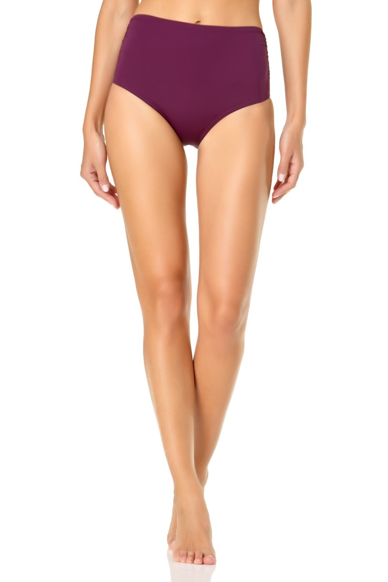 Anne Cole - Convertible High Waisted Foldver Bottom Purple 1
