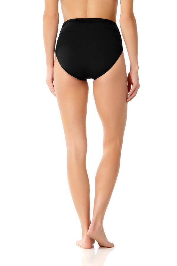 Anne Cole - Live In Color High To Low Convertible Waist Shirred Swim Bottom Black 1