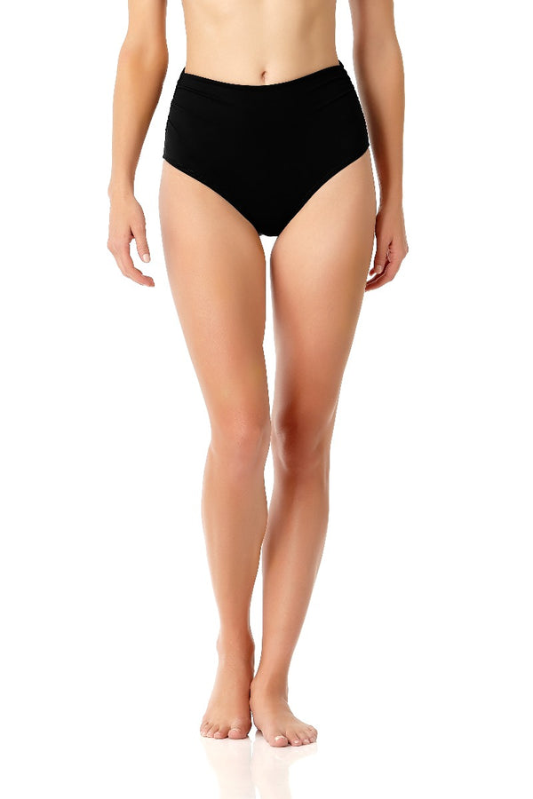 Anne Cole - Live In Color High To Low Convertible Waist Shirred Swim Bottom Black 2