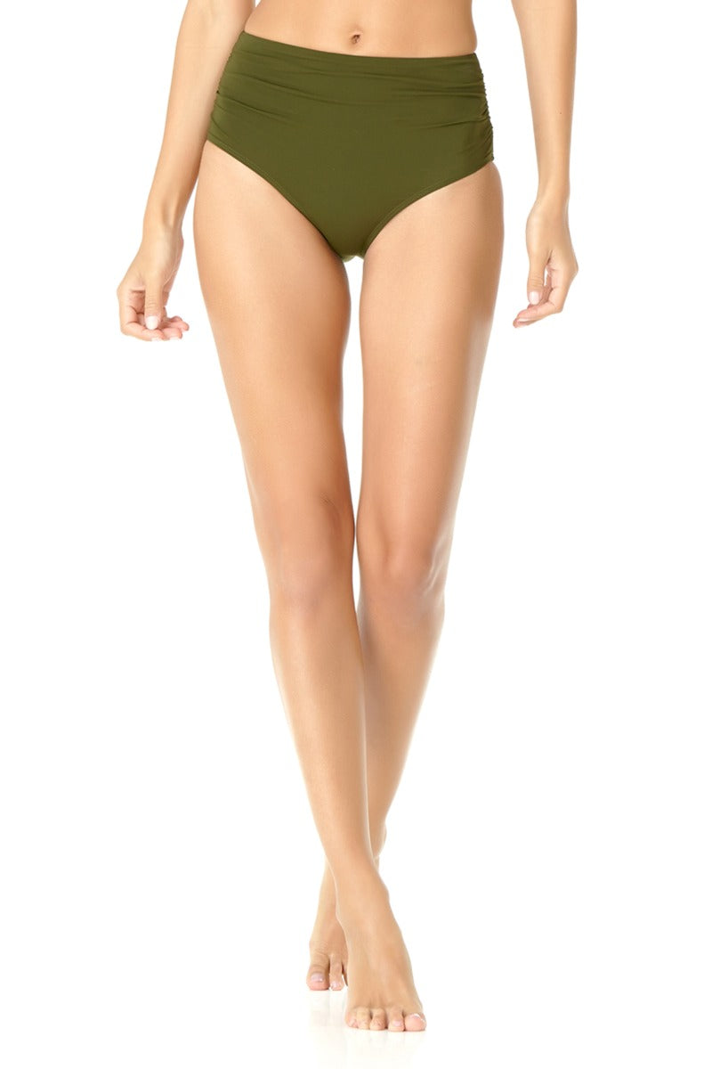 Anne Cole - Convertible High Waisted Foldver Bottom Green 1