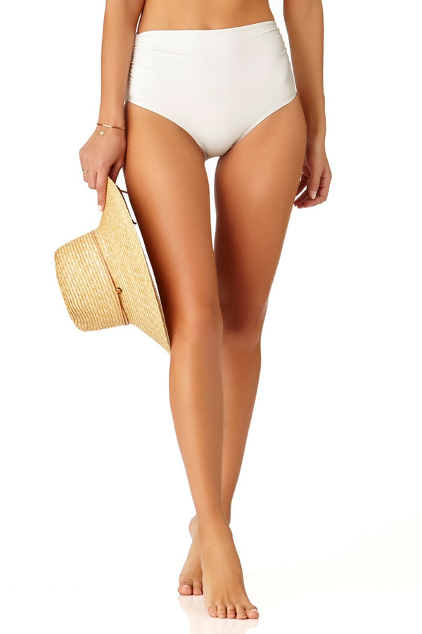 Anne Cole - Convertible High Waisted Foldover Bottom White 1