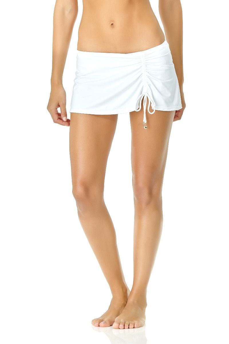 Anne Cole - Adjustable Sarong Swim Skirt White 1
