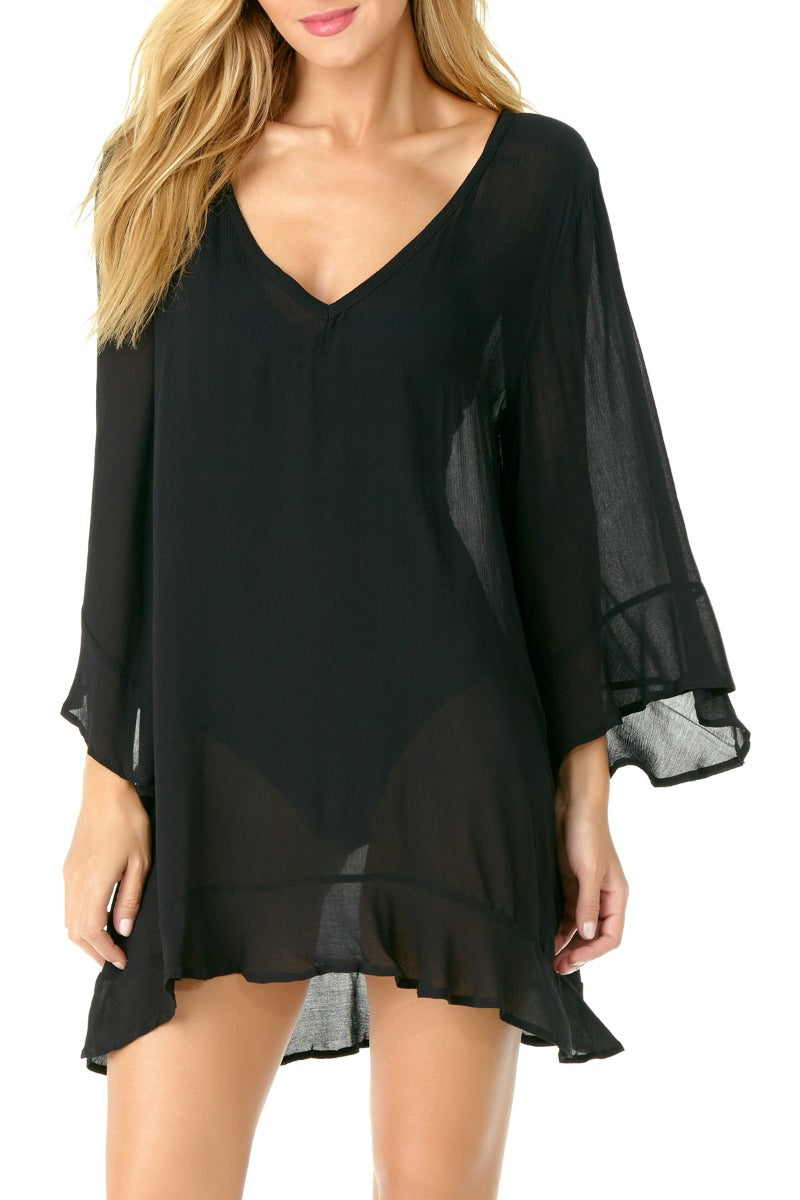 Anne Cole - Live in Color Flounce Tunic Black 1