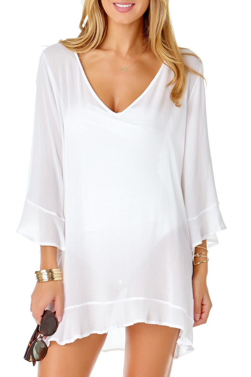 Anne Cole - Live in Color Flounce Tunic White 1