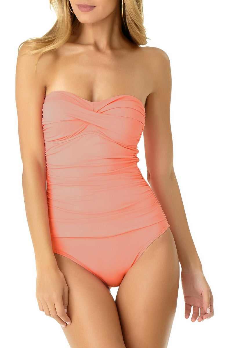 Anne Cole - Shirred Bandeau One Piece Swimsuit Pink 1