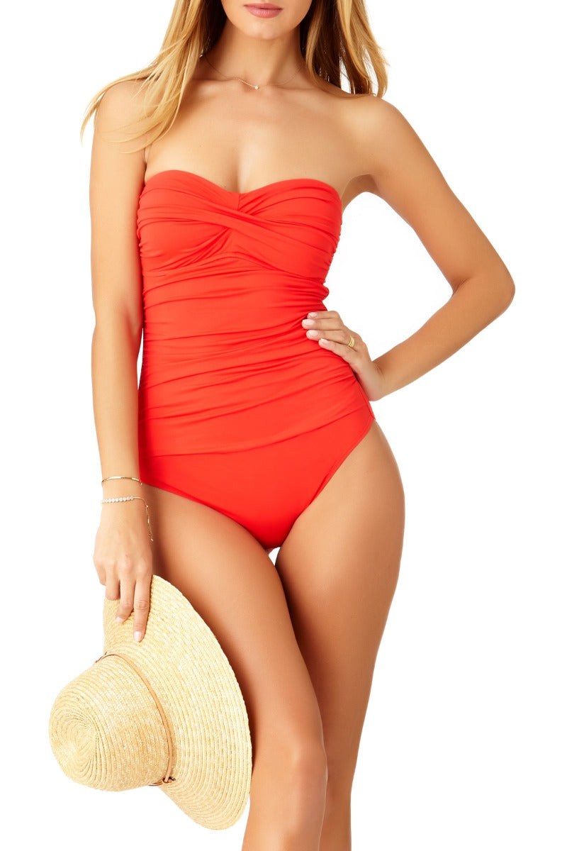 Anne Cole - Shirred Bandeau One Piece Swimsuit Red 1