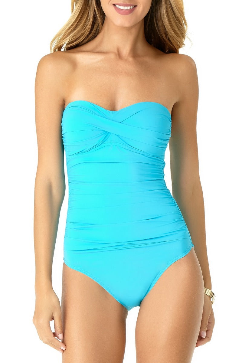 Anne Cole - Shirred Bandeau One Piece Swimsuit Blue 1