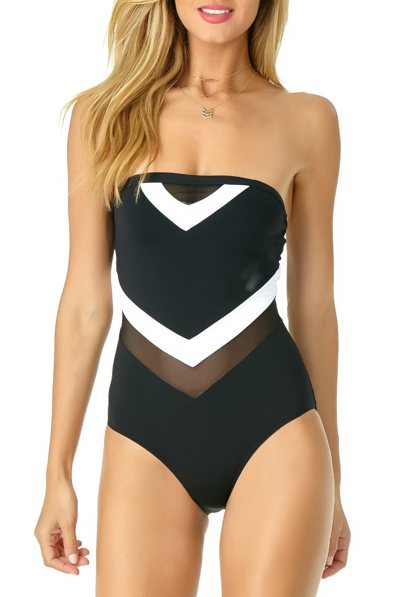 Anne Cole - Colorblock Mesh Bandeau One Piece White 1