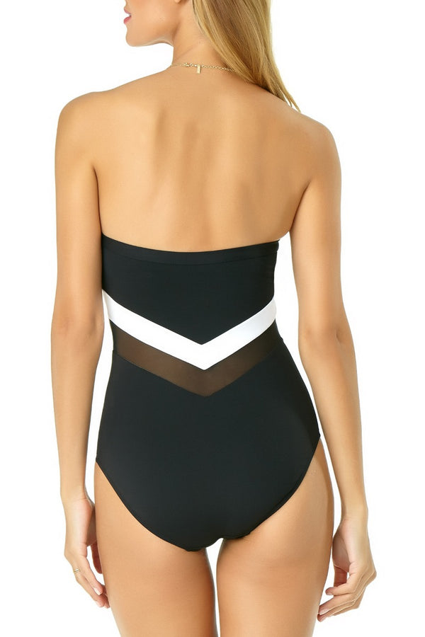 Anne Cole - Colorblock Mesh Bandeau One Piece White 2