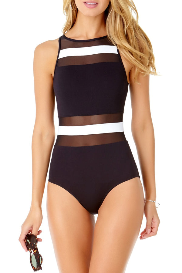 Anne Cole - Colorblock High Neck Mesh One Piece