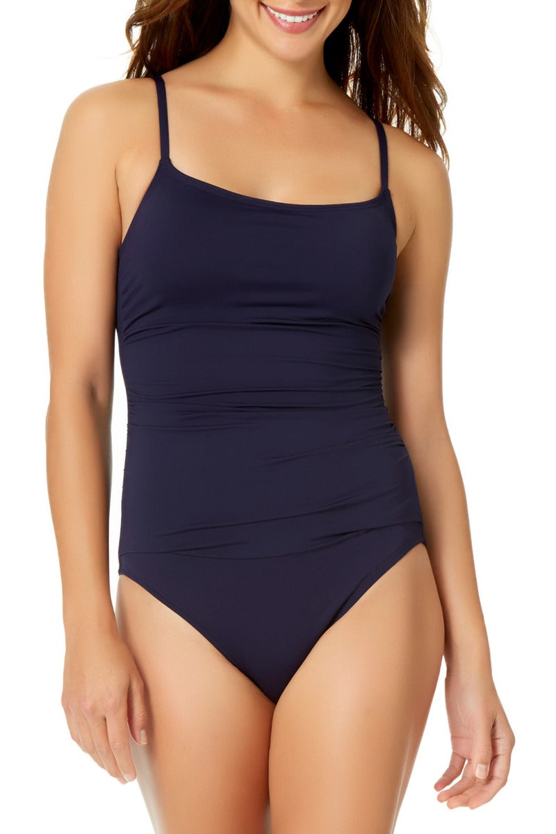 Anne Cole - Shirred Lingerie Maillot One Piece Navy 1