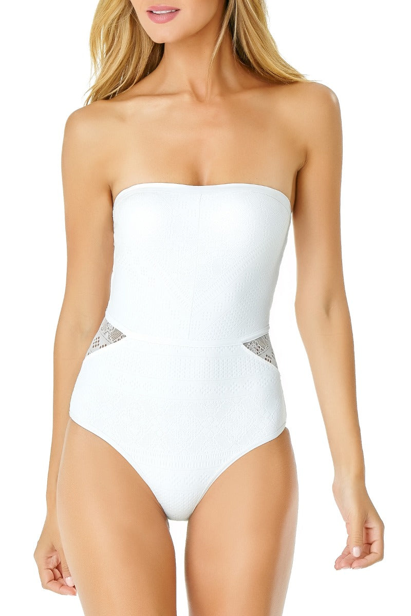 Anne Cole - Crochet Strapless Bandeau One Piece White 1