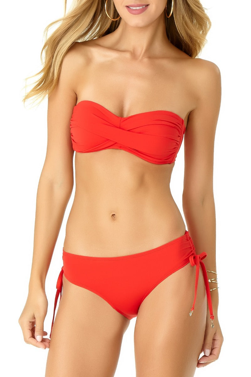 Anne Cole - Live in Color Twist Front Bandeau Top Red 1