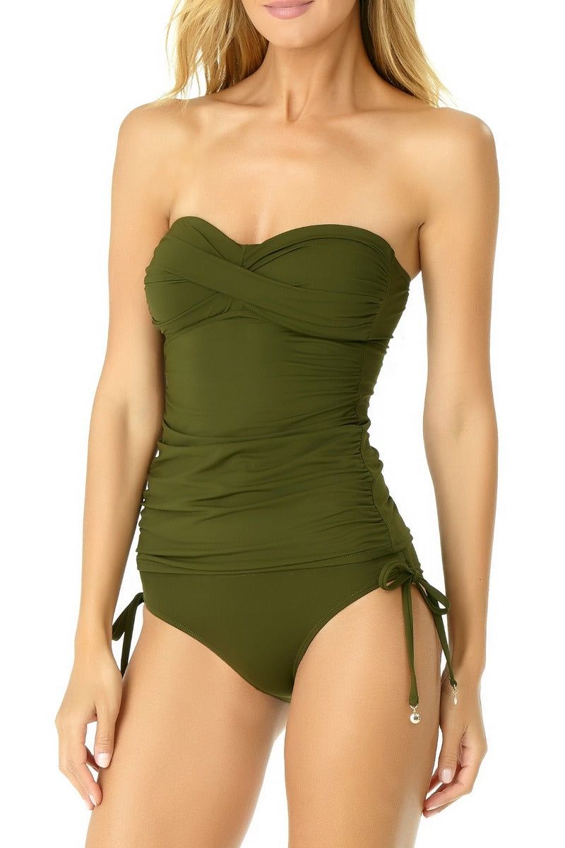 Anne Cole - Live in Color Twist Front Bandeau Tankini Top Green 1